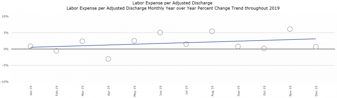 Figure 2: Labor Expense per Adjusted Discharge Monthly Year Over Year Percentage Change Trend Throughout 2019